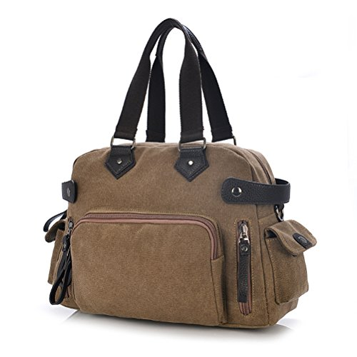 Aimmer Castle Men's Canvas Causal Travel Handbags School Study Croos-body Coffe Acg017