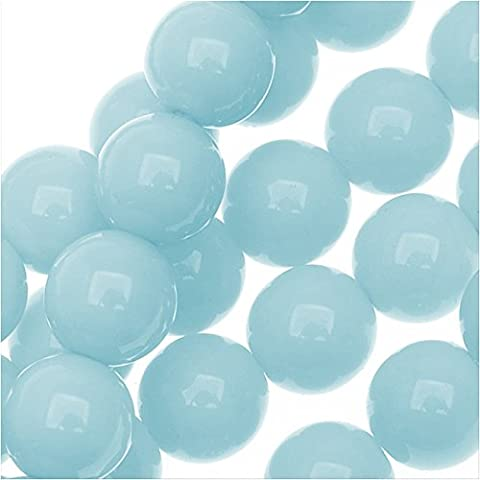 Czech Glass Pastella Collection, Smooth Round Druk Beads 8mm, 1 Strand, Baby Blue - Baby Blue Beads