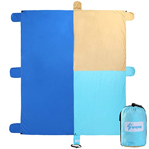 Spofine Beach Blanket Sand Proof, Oversized 10'X 9' Beach Mat Sand Free, Compact Sand Blanket, Giant Beach Towel Sand Fall Through, Quick Dry, 6 Sand Anchors & 2 Pockets. (Blue&Golden)