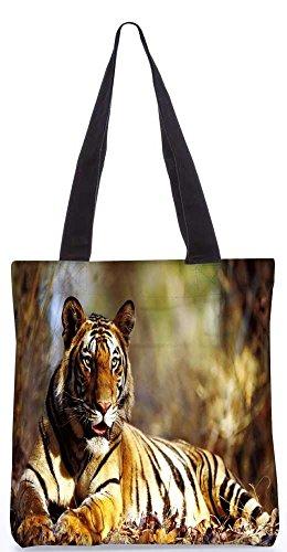 """Snoogg Croaching Tiger-Einkaufstasche 13,5 X 15 In """"Einkaufstasche Dienstprogramm Trage Aus Polyester Leinwand"""