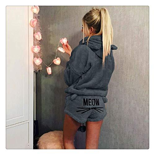 Two Piece Set Pyjamas Women Sleepwear Flannel Cat Warm Pajamas Female Winter Pajamas for Women Home Suit as show0233-8 4XL]()