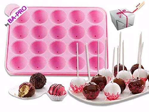 BA-PRO JNXD-119, 20-Cavity Ball Shape Baking Mold, Muffins Cupcakes Cookware Silicone Set, Best for Brownies, Pies, Lollipops, Candies, Jelly and Chocolate, Ice Cream Tray, 228/186/40mm (L/W/H), Pink 8 BAKING EXPERIENCE with ZERO FRUSTRATION It's Humongous: a Multi-Use Cookware of Sturdy yet Flexible Double Tray Cupcake Pan that Will Carry All Baking Endeavors with Embarrassing Ease and Effortless Comfort. Elegant Shape, Available Here in Our USA Stock