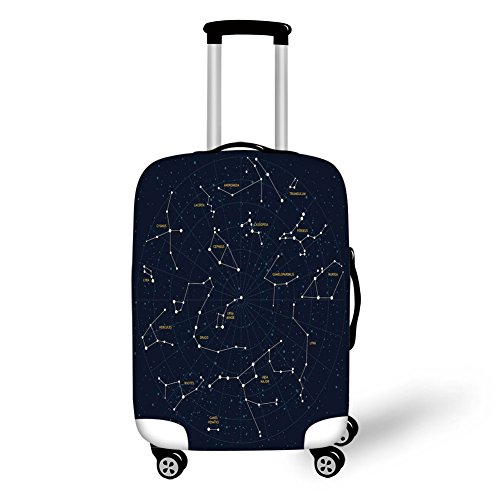 Travel Luggage Cover Suitcase Protector,Constellation,Sky Map Andromeda Lacerta Cygnus Lyra Hercules Draco Bootes Lynx,Dark Blue Yellow White,for Travel -