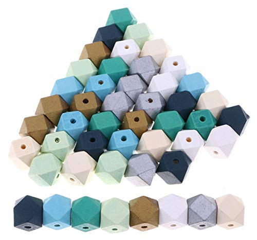 """48PCS 20mm/0.8"""" Painted Geometric Wooden Spacer Beads Unfinished Wood Loose Beads Ball for DIY Art & Craft Project and Jewelry Making, 8 Colors (Geometric Beads)"""