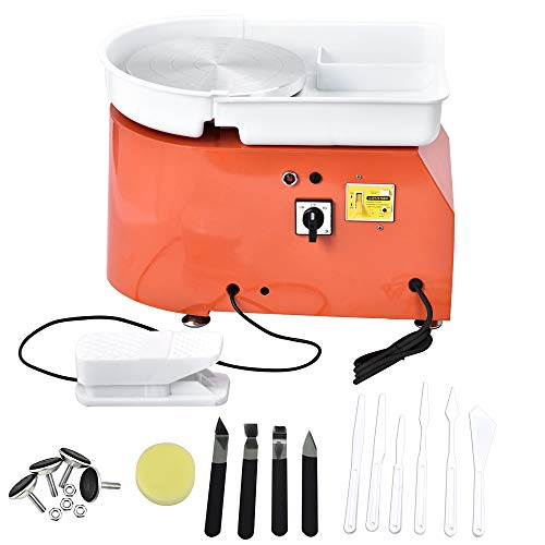 ETE ETMATE 25CM 350W Electric Pottery Wheel Machine with Independent Foot Pedal Ceramic Work Clay Art Craft Electric Pottery Wheel DIY Clay Tool for Adults