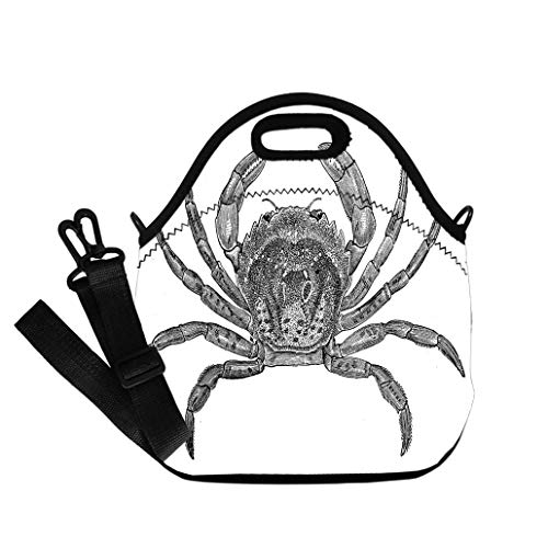 Custom Digital Printing Insulated Lunch Bag,Neoprene Lunch Tote Bags Antique illustration of common shore crab (Carcinus maenas) Lunch Bag- Insulated and Reusable Artful Design
