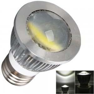E27 3W 350LM 6000K COB White Light Spot Outside Convex Light Bulb Silver (85-265V)