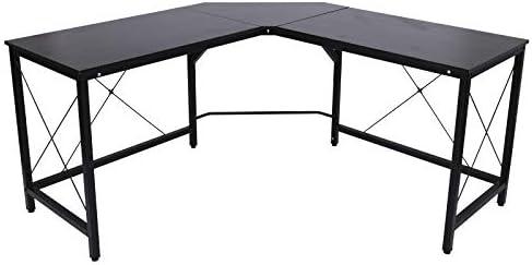 HOMCOM Wood Metal Modern L Shaped Corner Computer Desk – Black