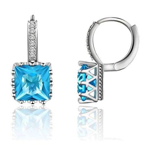 Blue Cubic Zirconia Earrings - 8