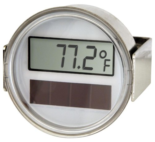 Miljoco CD20668403-48 Digital Thermometer, Solar Powered Display, Flush Mount with Plain U-Clamp Connection, 2