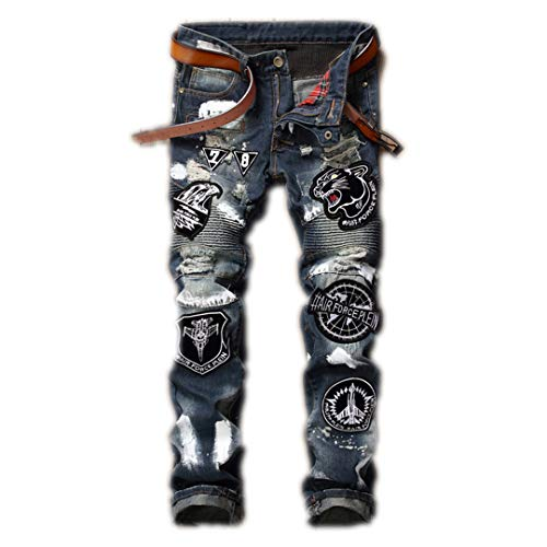 - Mens Casual Air Force Motorcycle Biker Jeans Flying Tigers Eagle Patches Male Ripped Hole Hip Hop Straight Jeans 001-2 31