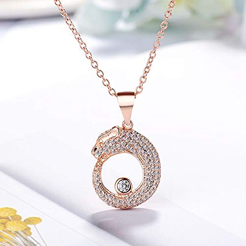 - 2018 Unique Creative Models Full Diamond Leopard Head Necklace Pendant Fashion Exaggerated Women Girls Clavicle Chain (Rose Gold
