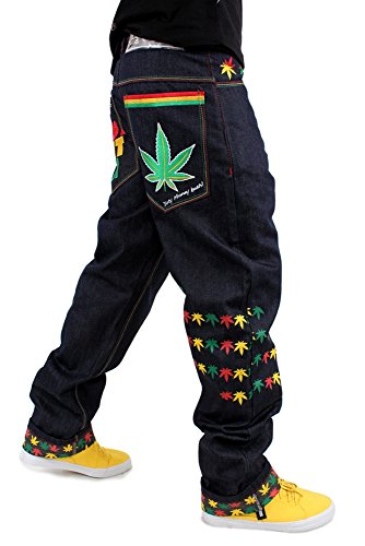 Non Kush Raw Rasta Pre lavato Dirty Colpire Money Marijuana Foglia Just Denim It Jeans 0UqzPFx