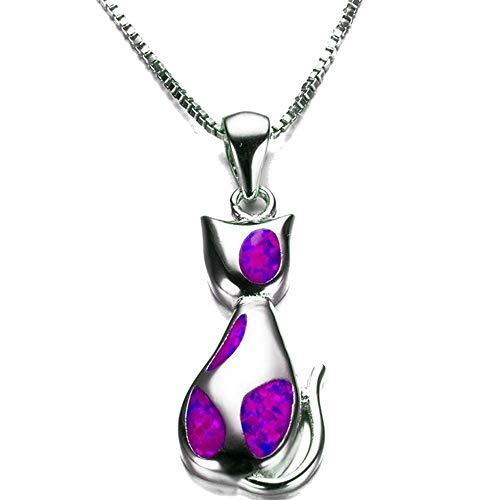 Jude Jewelers Rhodium Plated Created Fire Opal Cat Kitty Shape Children Girl Pendant Necklace (Purple)