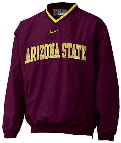 NIKE Arizona State Sundevils V-Neck College Windshirt Team Sports (XL=48) (Nike Windshirt Mens)