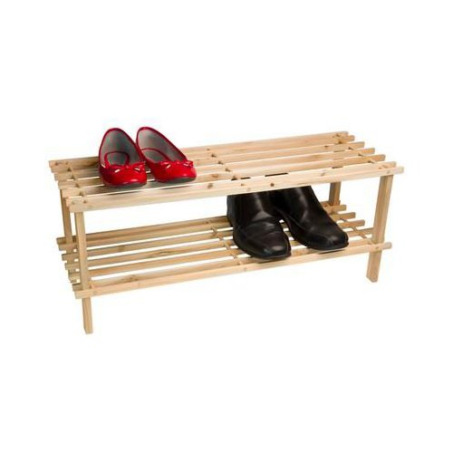 Two Tier Real Wood Shoe Rack
