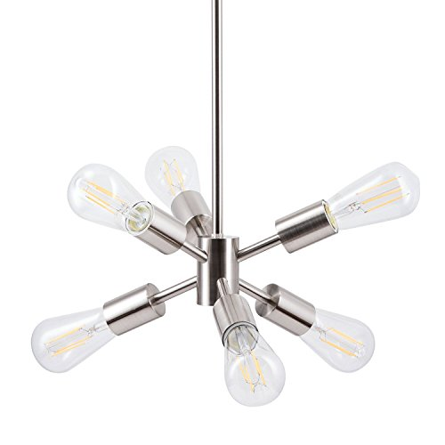 Stella LED Sputnik Chandelier Light Fixture, Brushed Nickel, Linea di Liara LL-P231-BN Review