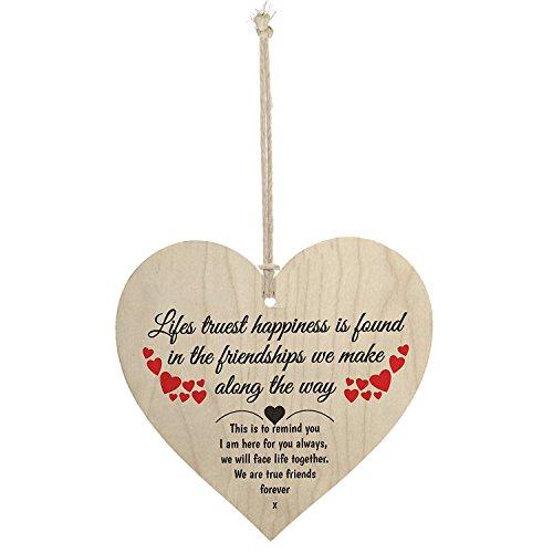 Meijiafei Friendship Lifes Truest Happiness Wooden Hanging Heart Gift Best Friends Plaque