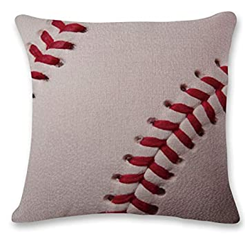 ❤Ywoow❤ Hand Painted Sofa Bed Home Decor Pillow Case Cushion Cover Baseball and Rugby Linen Pillow Case