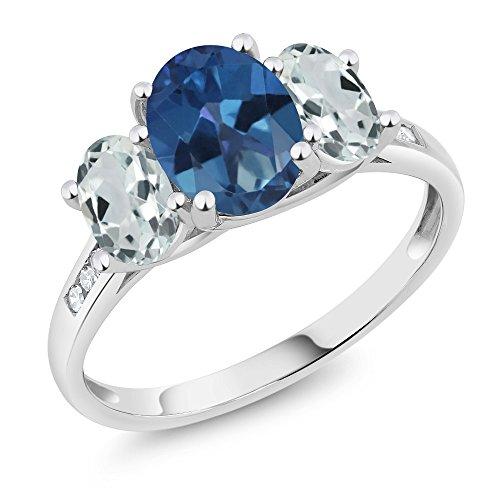 Mystic Topaz 3 Stone Ring - Gem Stone King 10K White Gold Diamond Accent Oval Blue Mystic Topaz Sky Blue Aquamarine 3-Stone Ring 2.16 Ct (Size 8)