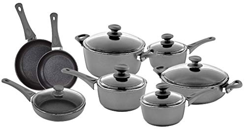 (Saflon Titanium Nonstick 14-Piece Cookware Set 4mm Forged Aluminum with PFOA Free Scratch-Resistant Coating from England, Dishwasher Safe)