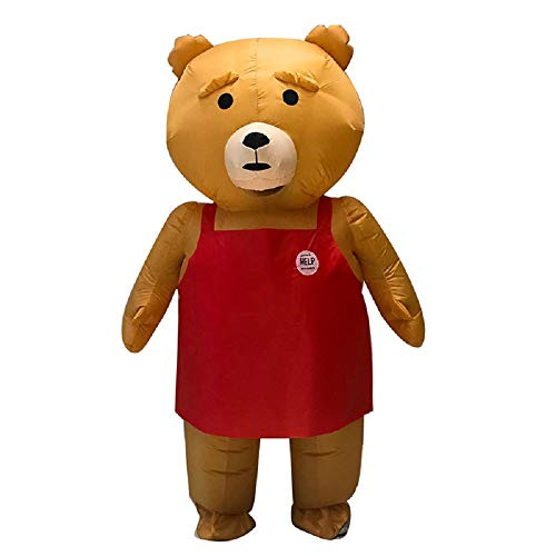 Mascot Inflatable Costume Lovely Brown Teddy Bear Purim Christmas Halloween Carnaval Anime Cosplay for Adult (Brown) -