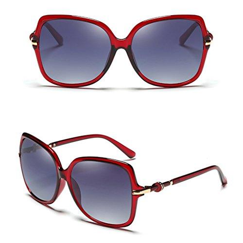 Soleil Color Vin Ms de Miroir Élégant Rouge Pilote Big Polarized Couleur Conduire Frame Tea de Lunettes Lunettes Glasses Soleil Rétro pwAg5qq
