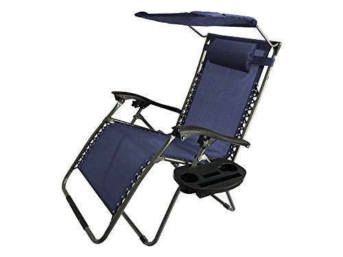 Akari Decor Extra Large Oversized XL 3pcs Zero Gravity Chair Patio Adjustable Recliner with Canopy Sunshade and Cupholder (Blue) (Sunroom Chairs)