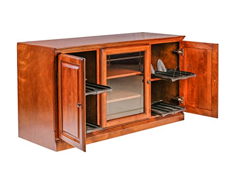 (Forest Designs Traditional Alder TV Stand with Media Storage and V-Groove Glass: 67W x 30H x 21D 67w Cherry Alder)