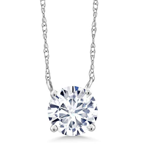 18K White Gold Pendant Necklace Forever 1 Colorless (DEF) Round 1.00ct (DEW) Created Moissanite by Charles & Colvard