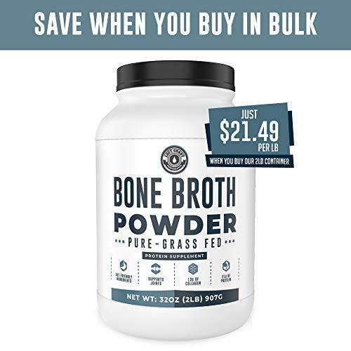 Bone Broth Protein Powder Pure Grass Fed Beef - Unflavored, Keto/Paleo Friendly, Gut-Friendly, Non-GMO, Dairy-Free Protein Powder. Rich in Collagen, Glucosamine & Gelatin, (16oz)