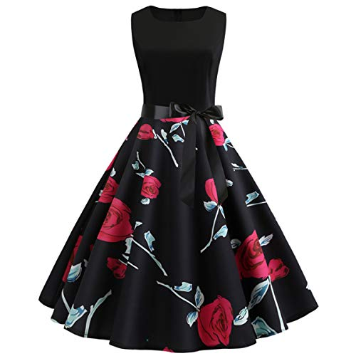 Fit and Flare Dress, Fifties Floral Retro Elegant Audrey Hepburn Tie Waist Knee Length Semi Formal Skater Swing Prom Dress for Women Evening Party (Black Floral, L/US Size 8-10)