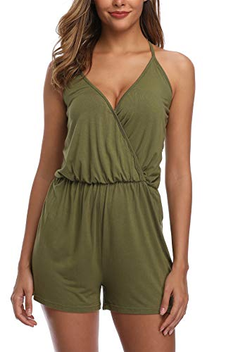 (MISS MOLY Women's Sleeveless Spaghetti Strap Rompers V-Neck Summer Playsuit Shorts Jumpsuit-XS Army)