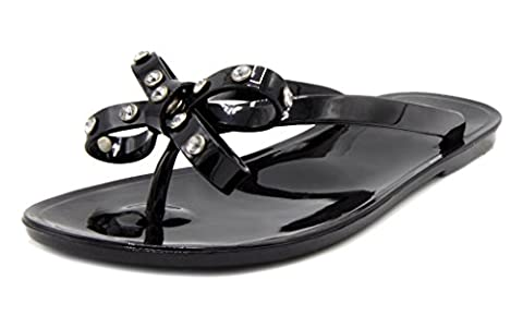 143 Girl Women's Olieah Jelly Thong Sandal with Bow 9.5 Black - Iona Flat Shoe