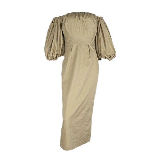 ry5obg65 charming Brand 100% Cotton Autumn Dress Off the Shoulder Puff Sleeve Vintage Long Dress Party Dresses Robe Femme Khaki (Dillards Robes)