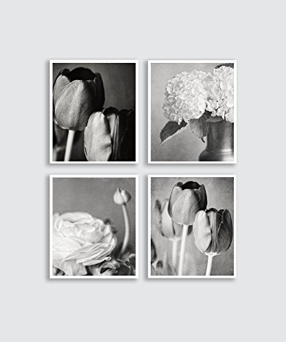 Black and white photography print set vertical flower prints discounted set of 4 wall
