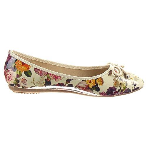Sopily - Zapatillas de Moda Bailarinas Tobillo mujer flores nodo Talón Tacón ancho 1.5 CM - Beige