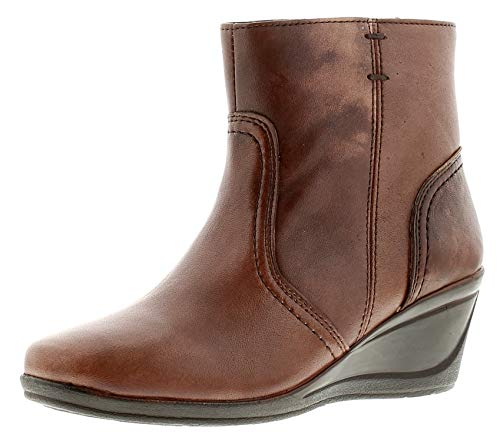 Heavenly Feet Helen Womens Ladies Leather Ankle Boots Brown - Brown - UK Sizes 3-8