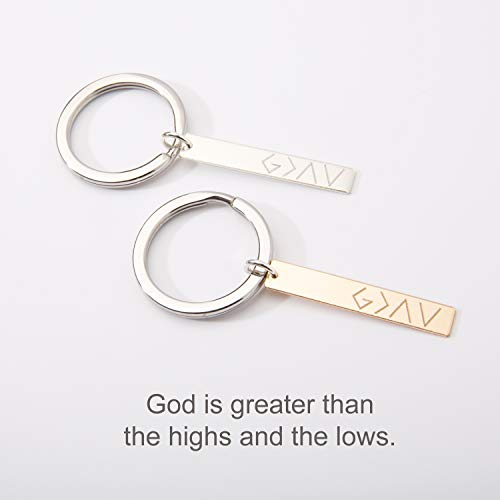 (God is Greater than the Highs and the Lows Keychain - Custom Horizontal Bar Keyring-14K Gold Filled-Rose-Sterling)