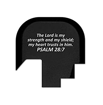 BASTION Rear Slide Cover Plate for Smith & Wesson S&W M&P Shield 9mm .40 ONLY, Butt Plate with Laser Engraved Image - Psalm 28:7