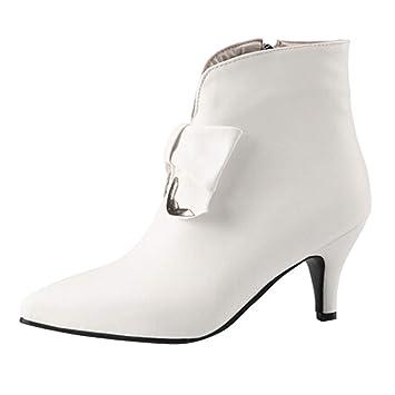 Zapatos de Cuero de Moda para Mujer Botines con tacón Fino ...