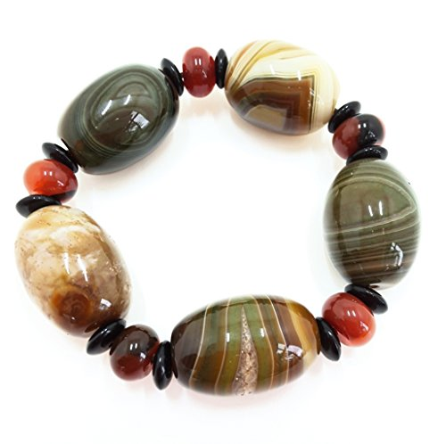 Deluxe Creamy (UNIQUE: CREAMY SWIRL OF BROWNS AND DEEP CREEN AGATE STRETCH BRACELET 6.5