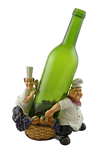 (Decorative Kitchen Polyresin Laurel & Hardy Chefs With Grape Vines And Apples In A Basket Wine Bottle Holder)