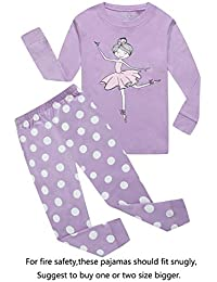 Zebra Little and Big Girls 2 Piece 100% Cotton Pajamas Sets Kids PJS