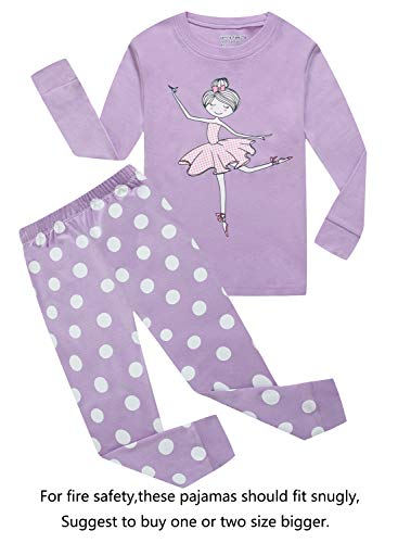 Family Feeling Little Girls Long Sleeve Pajamas Sets 100% Cotton Pyjamas Kids Pjs Size 5 Purple ()