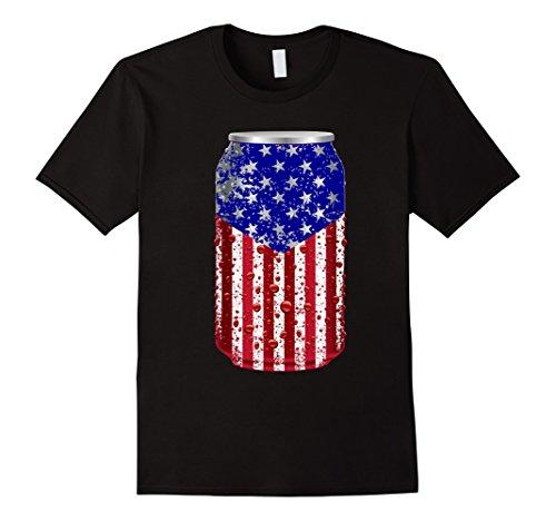 Mens Patriotic beer Can usa American flag Large Black