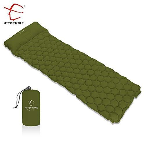 RubyShopUU Hitorhike Inflatable Mattress Cushion Sleeping Bag Mat Fast Filling Air Moistureproof Camping Beach Mat with Pillow Sleeping Pad