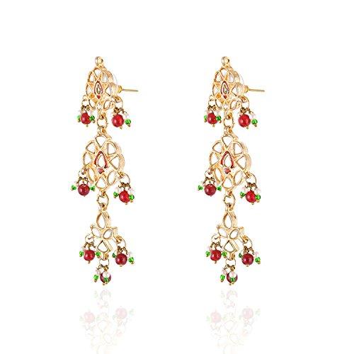 Be You Élégant kundan meena travail clouté avec boucles d'oreilles rhodium plaqué laiton designer et collier pour les femmes