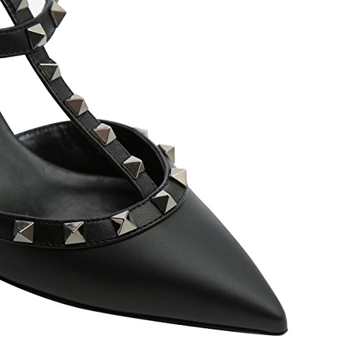 Strap Toe T Ankle Rivets Pleather Mavirs Pointed Mid Pumps Heel Black Shoes Studded Women's Strap fqUWwgTH