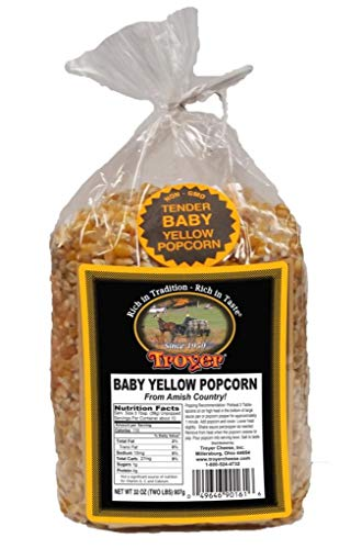 Troyer Amish Gluten Free, NON GMO Tender Baby Yellow Popcorn - 2 lb. Bag ()